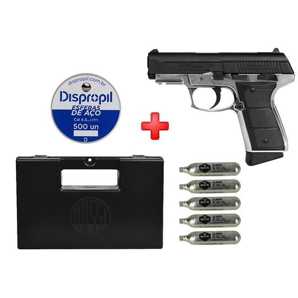 Pistola de Pressão CO2 Daisy 5501 Full Metal 4.5mm + Case + Cápsula de CO2 + Esferas de Aço 500un.