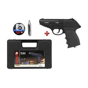 Pistola de Pressão CO2 Gamo P-23 Combat Semi-metal 4.5mm + Case Maleta + Esferas + Cápsula CO2