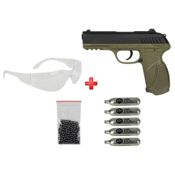 Pistola de Pressão CO2 Gamo PT-85 Green Semi-metal 4.5mm + 05 Cápsulas de CO2 + Óculos de Proteção +