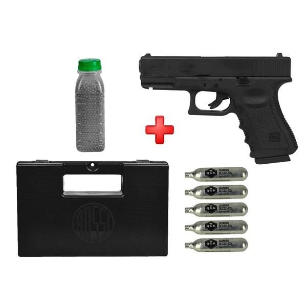 Pistola de Pressão CO2 Glock G19 Semi-metal 4.5mm + Esferas de Aço 4100un. + 05 Cápsulas CO2 + Case