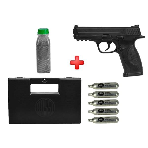 Pistola de Pressão CO2 Smith & Wesson M&P 40 Semi-metal 4.5mm + Kit Munição
