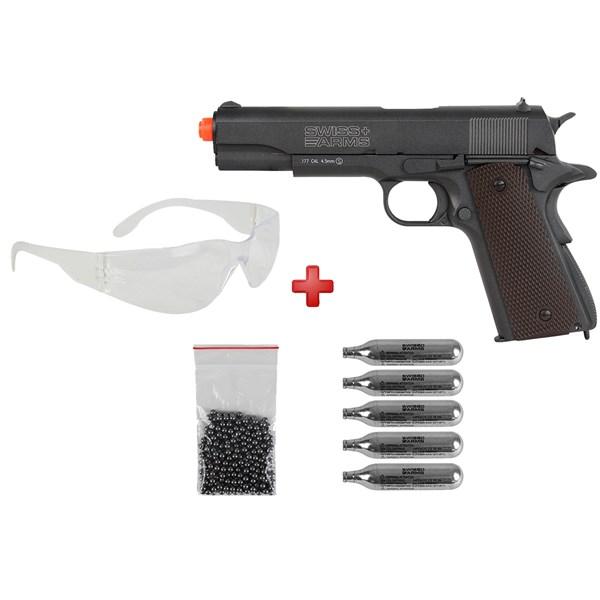 Pistola de Pressão CO2 Swiss Arms P1911 4.5mm + Kit Munição + Óculos
