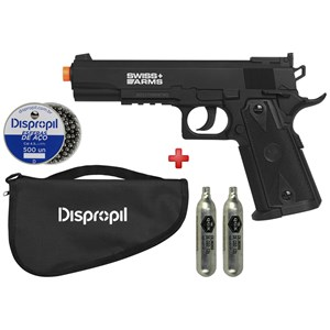 Pistola de Pressão CO2 Swiss Arms P1911 Match 4.5 + Capa Dispropil+ 2 CO2 + Esferas de Aço