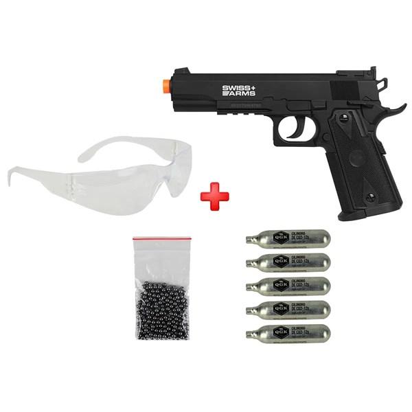 Pistola de Pressão CO2 Swiss Arms P1911 Match 4.5mm + 05 Cápsulas de CO2 + Óculos de Proteção + Esfe