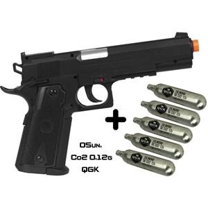 Pistola de Pressão CO2 Swiss Arms P1911 Match 4.5mm + 05 Cápsulas de Co2 QGK 12g
