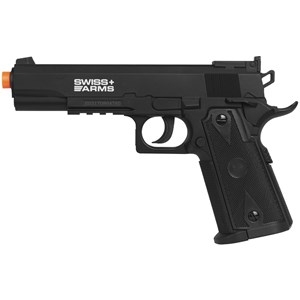 Pistola de Pressão CO2 Swiss Arms P1911 Match 4.5mm + Esferas de Aço + 05 Cápsulas CO2 + Case Maleta