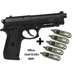 Pistola de Pressão CO2 Swiss Arms P92 4.5mm + 05 Cápsulas de Co2 QGK 12g