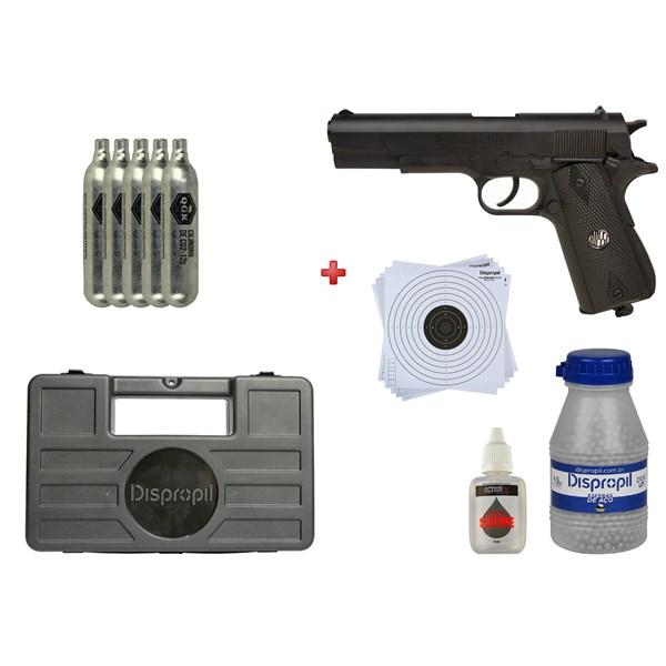Pistola de Pressão CO2 WG W125B 4.5mm + 05 CO2 + Maleta + Esfera 4.5mm 2100un + Alvo 14x14 + Óleo