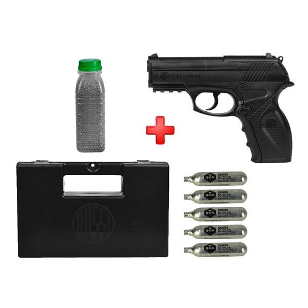 Pistola de Pressão CO2 Win Gun C11 4.5mm + Esferas de Aço 4100un. + 5 Cilindros CO2 + Case Maleta