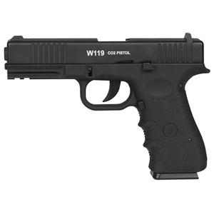 Pistola de Pressão CO2 Win Gun W119 Semi-metal 4.5mm + Esferas de Aço 2100un. + 5 Cilindros CO2 + Ca