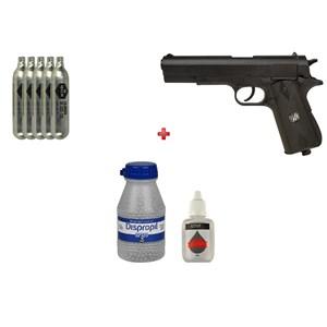 Pistola de Pressão CO2 Win Gun W125B 4.5mm + 05 CO2 + Esfera de Aço 4.5mm 2100un + Óleo