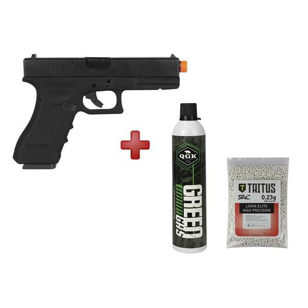 Pistola GBB Army Armament Glock R17 + Green Gás QGK + BBs Taitus 0.23
