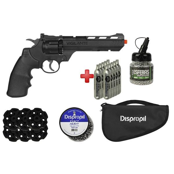 Revólver de Pressão CO2 Crosman Vigilante 4.5mm + Capa + 10 CO2 + Kit Munição + 6 Mag