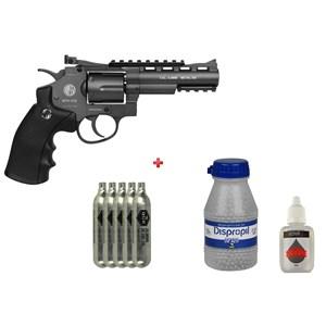 Revólver de Pressão CO2 Win Gun 701 Full Metal 4.5mm + 5 Co2 + Esfera de Aço 4.5mm 2100un + Óleo