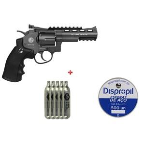 Revólver de Pressão CO2 Win Gun 701 Full Metal 4.5mm + 5 CO2 + Esfera de Aço 4.5mm 500un