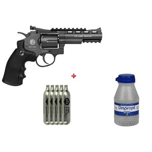 Revólver de Pressão CO2 Win Gun 701 Full Metal 4.5mm + 5 CO2 + Esfera de Aço Dispropil 4.5mm 2100un