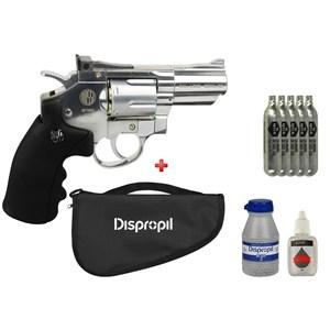 Revólver de Pressão CO2 Win Gun 708S Cromado 4.5mm + 5 Co2 + Esfera 4.5mm 2100un + Capa + Óleo