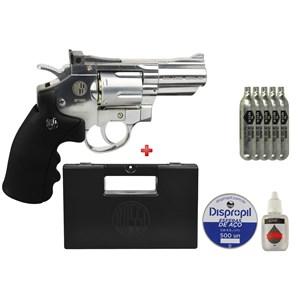 Revólver de Pressão CO2 Win Gun 708S Cromado 4.5mm + 5 Co2 + Esfera 4.5mm 500un + Case Maleta + Óleo