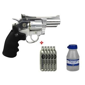 Revólver de Pressão CO2 Win Gun 708S Cromado 4.5mm + 5 Co2 + Esfera de Aço 4.5mm 2100un