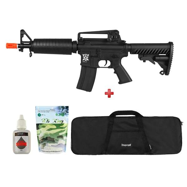 Rifle Airsoft AEG APS M4 M933 Kompetitor + Capa 90x30 + BBs BB King 0.20g + Óleo