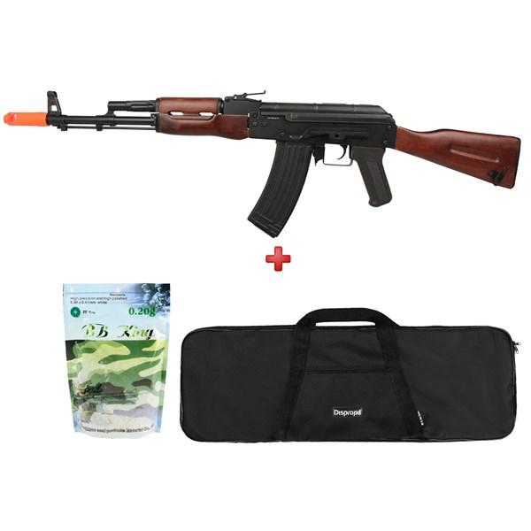 Rifle Airsoft Elétrico APS AK-74 Full Metal + Capa Simples 95x28 + BBs BB King 0.20g