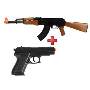 Rifle Airsoft Elétrico Cyma AK47 CM.022 + Pistola Airsoft Spring Vigor P99