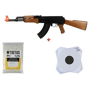 Rifle Airsoft Elétrico Cyma CM.022 + BBs SRC Taitus 0.20g + Alvo papel 14x14