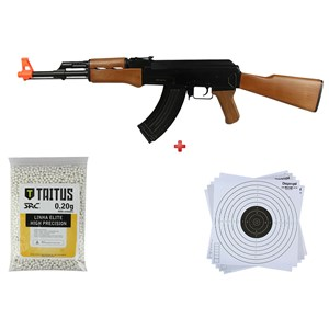 Rifle Airsoft Elétrico Cyma CM.022 + BBs SRC Taitus 0.20g + Alvo papel 17x17