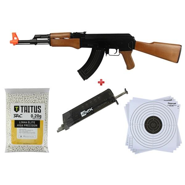 Rifle Airsoft Elétrico Cyma CM.022 + BBs SRC Taitus 0.20g + Speed Loader AX + Alvo 17x17