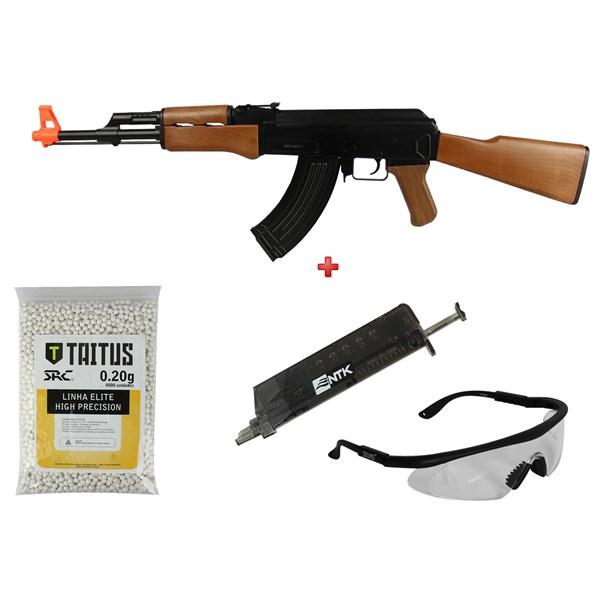 Rifle Airsoft Elétrico Cyma CM.022 + BBs SRC Taitus 0.20g + Speed Loader AX + Óculos SteelPro Eagle