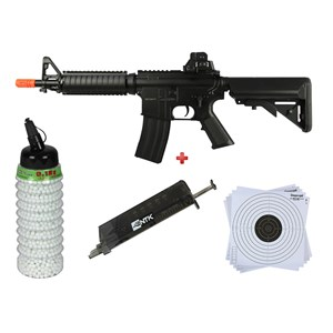 Rifle Airsoft Elétrico Cyma CM176 + BBs Bb King 0.12g 2300 + Speed Loader AX + Alvo 17x17