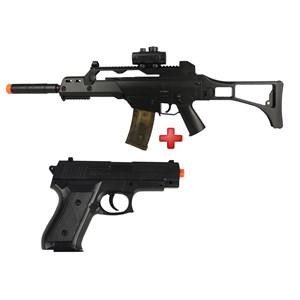 Rifle Airsoft Elétrico Cyma G36 CM. 021 Bivolt + Pistola Airsoft Spring Vigor P1918