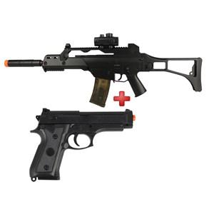 Rifle Airsoft Elétrico Cyma G36 CM. 021 Bivolt + Pistola Airsoft Spring Vigor P92