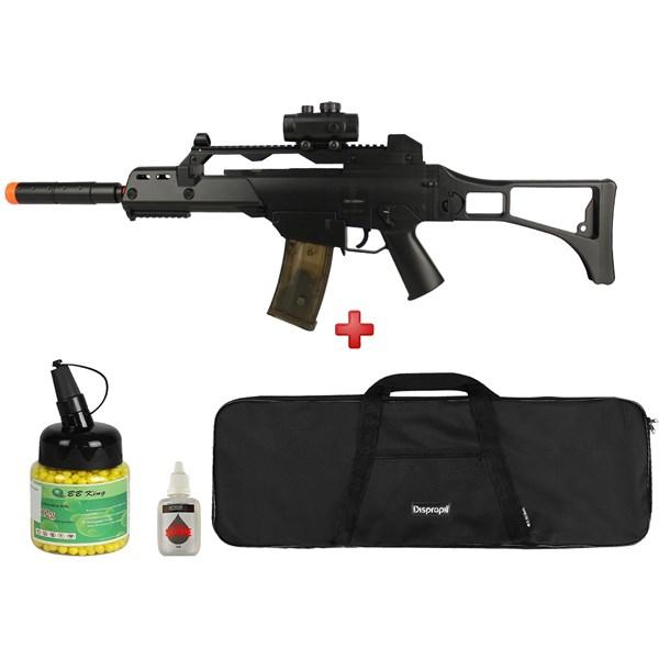 Rifle Airsoft Elétrico Cyma G36 CM. 021 + Capa Simples + BBs BB King 0.12g 1000un + Óleo de Silicone