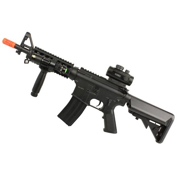 Rifle Airsoft Elétrico Cyma M4 CM176 + Red Dot Rifle Scope 11mm/22mm + Lanterna J.Y.X JY-1576W