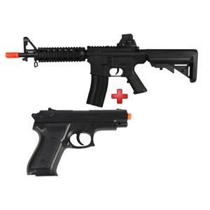 Rifle Airsoft Elétrico Cyma M4 CQB CM176 Bivolt + Pistola Airsoft Spring Vigor P99