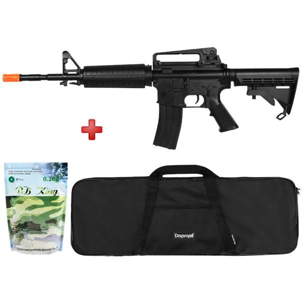 Rifle Airsoft Spring Cybergun Colt M4A1 Black + Capa Simples + BBs BB King 0.20g