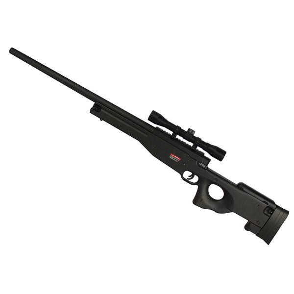 Rifle Airsoft Spring Evo Tactical Sniper L96 Preto + Luneta Rifle Scope 4x32 22mm