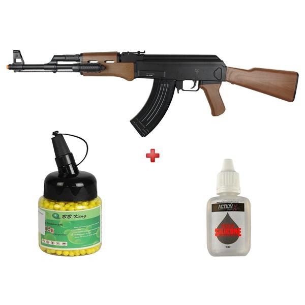 Rifle Airsoft Spring Saigo Defense AK-47 + BB King 0.12g 2000un + Óleo Silicone