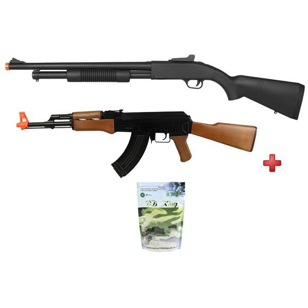 Rifle Airsoft Spring Shotgun Cyma ZM61A + Rifle Airsoft Elétrico Cyma AK47 CM.022 + BBs Airsoft BB King 0.20g 5000un