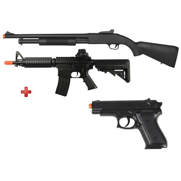 Rifle Airsoft Spring Shotgun Cyma ZM61A + Rifle Airsoft Elétrico Cyma M4 CQB CM.176 + Pistola Spring Vigor P1918