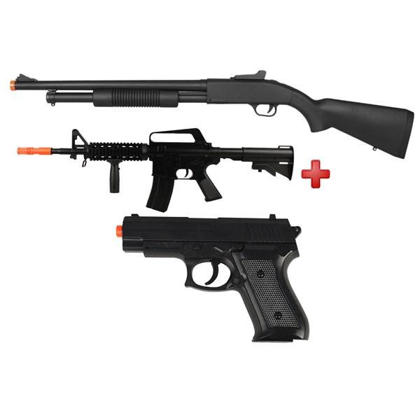 Rifle Airsoft Spring Shotgun Cyma ZM61A + Rifle Airsoft Spring Vigor M16 RIS + Pistola Airsoft Spring Vigor P1918