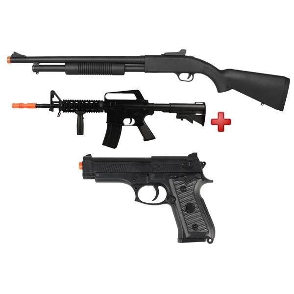 Rifle Airsoft Spring Shotgun Cyma ZM61A + Rifle Airsoft Spring Vigor M16 RIS + Pistola Airsoft Spring Vigor P92