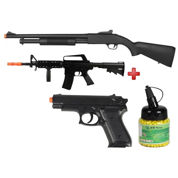 Rifle Airsoft Spring Shotgun Cyma ZM61A + Rifle Airsoft Spring Vigor M16 RIS + Pistola Airsoft Spring Vigor P99 + BBs Airsoft BB King 0.12g 1000un