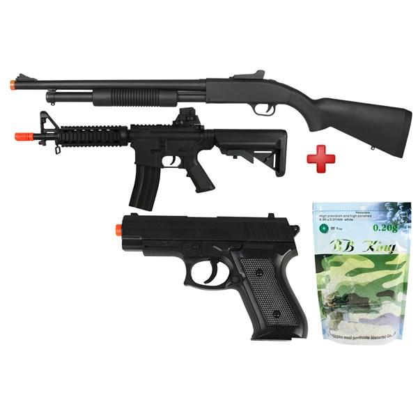 Rifle Airsoft Spring Shotgun Cyma ZM61A + Rifle Airsoft Spring Vigor M4 CQB + Pistola Airsoft Spring Vigor P1918 + BBs Airsoft BB King 0.20g 5000un
