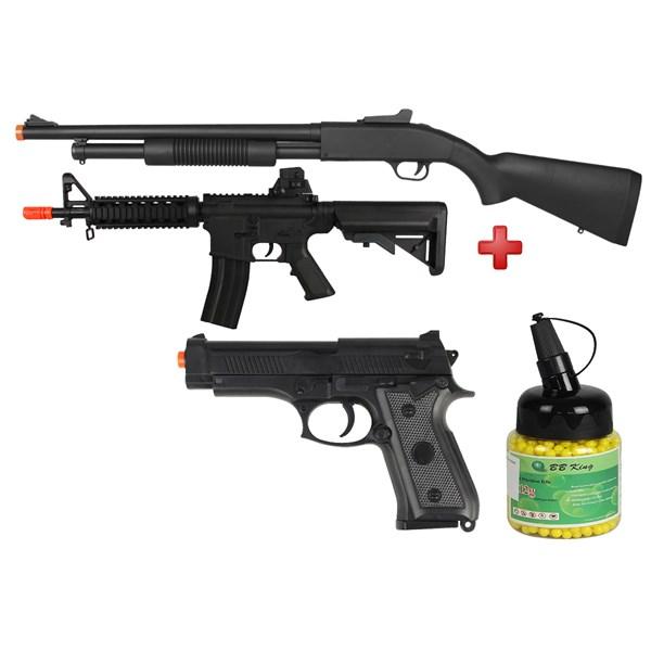 Rifle Airsoft Spring Shotgun Cyma ZM61A + Rifle Airsoft Spring Vigor M4 CQB + Pistola Airsoft Spring Vigor P92 + BBs Airsoft BB King 0.12g 1000un