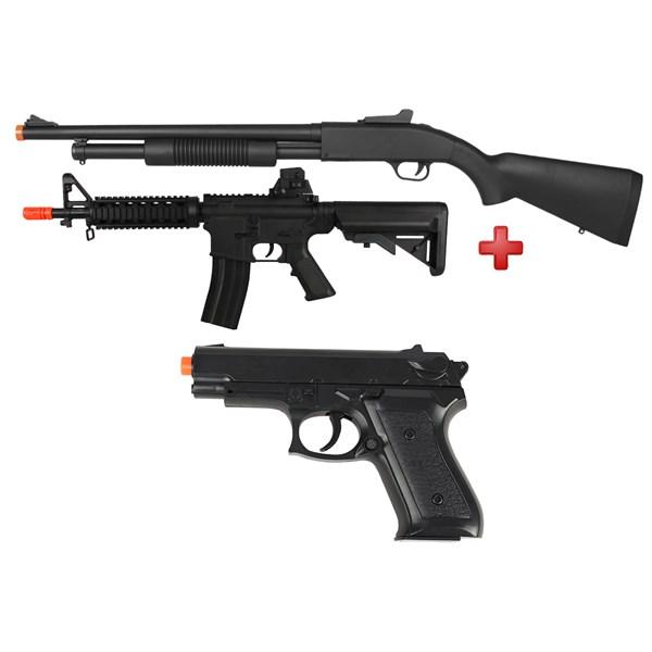 Rifle Airsoft Spring Shotgun Cyma ZM61A + Rifle Airsoft Spring Vigor M4 CQB + Pistola Airsoft Spring Vigor P99