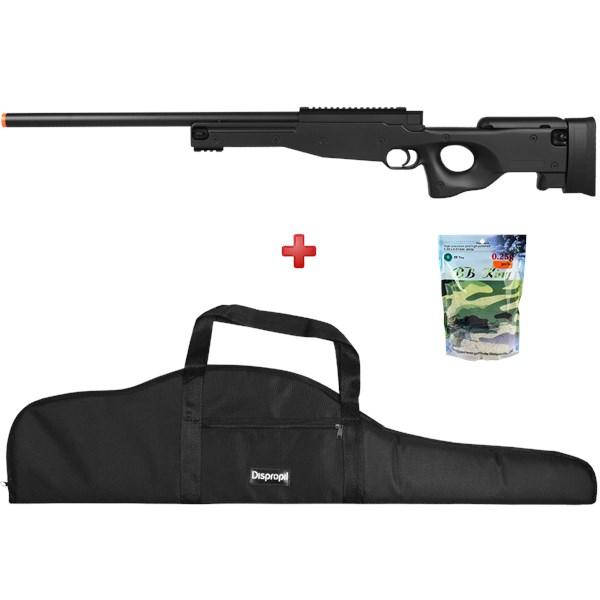 Rifle Airsoft Spring Sniper L96 AWP + Capa Super + BBs BB King 0.25g