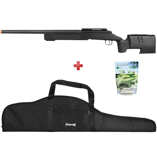 Rifle Airsoft Spring Sniper M62 Black + Capa Super + BBs BB King 0.20g
