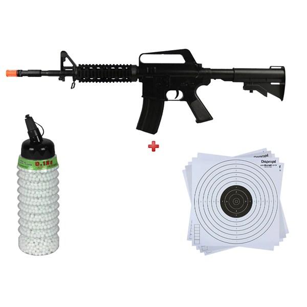 Rifle Airsoft Spring Vigor M16 RIS + BBs Bb King 0.12g 2300 + Alvo papel 14x14